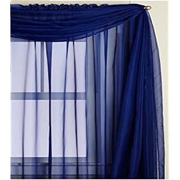 Amazon.com: Monagifts Window Scarf, 216x37-Inches, Dark Navy Blue ...