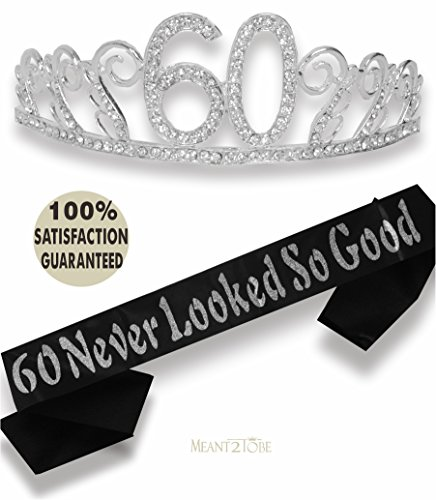 60th Birthday Tiara and Sash, Happy 60th Birthday Party Supplies, 60 Never Looked So Good Black Glitter Satin Sash and Crystal Tiara Birthday Crown for 60th Birthday Party Supplies (Silver) (Birthday Mom 60th Present For)