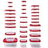 Rubbermaid 2063701 Easy Find Vented Lids Food Storage Containers, 60pc New, Racer Red