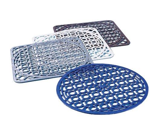 Ruco V810 Silber Spülbecken-Schutzeinlage für eckige und runde Becken, PVC frei, 2-er Set, silber
