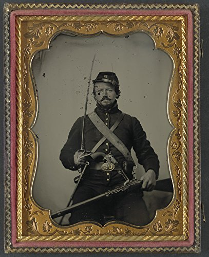 Historic Photos Unidentified soldier in Union uniform and Company B hat, with Hall breech loading carbine rifle, Colt revolver, and cavalry sword