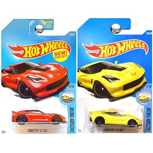 Hot Wheels 2017 Factory Fresh Chevrolet Chevy Corvette Z06 ZO6 C7 in Yellow Red SET OF ()