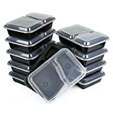 COMFY PACKAGE [15-SETS] 2-Compartment Bento Lunch Boxes with Lids - Stackable, Reusable, Microwave, Dishwasher & Freezer Safe - Meal Prep, Portion Control, 21 Day Fix & Food Storage Containers