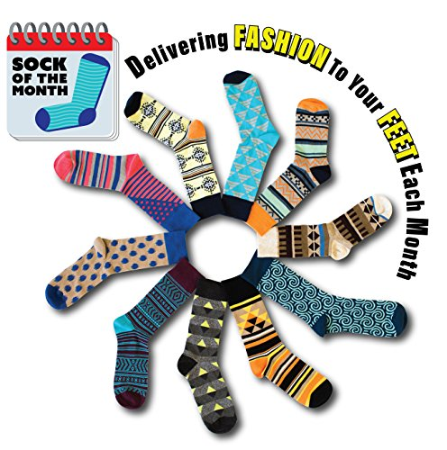 The School of Sock Men's Wild Funky Crazy Loud Sock of the Month Club (12 Months) by Sock It To