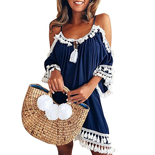 - Women Off Shoulder Tassel Short Cocktail Party Beach Dresses Sundress Sveless Halter Fringe t Shirt Dress Navy