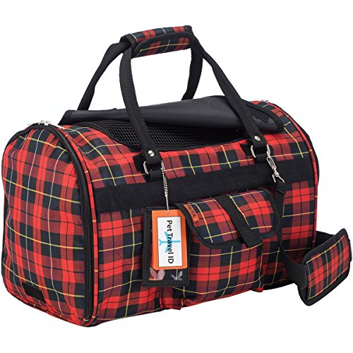 Pet Travel Carrier with Privacy Covers- Soft-Sided - Airline Approved with Side Pocket, Velcro Handle & Padded Shoulder Strap - Perfect for Small Dogs and Cats (17 x 12 x 10, Black Orange) (Plaid Pet Carrier)
