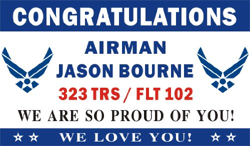 Air Force Banner (3ftX5ft Personalized Congratulations Airman U.S. (US) Air Force Basic Military Training Graduation Banner Sign)