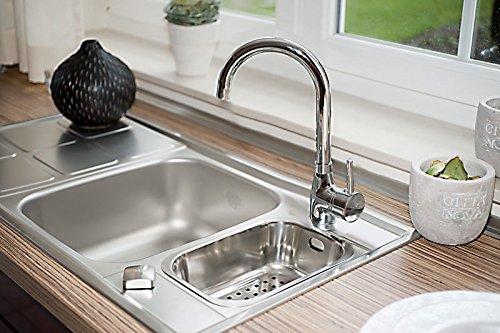 Palanca clásica de grifo mezclador monomando para fregadero de cocina/baño, de cromo, de ATORRE®: Amazon.es: Hogar