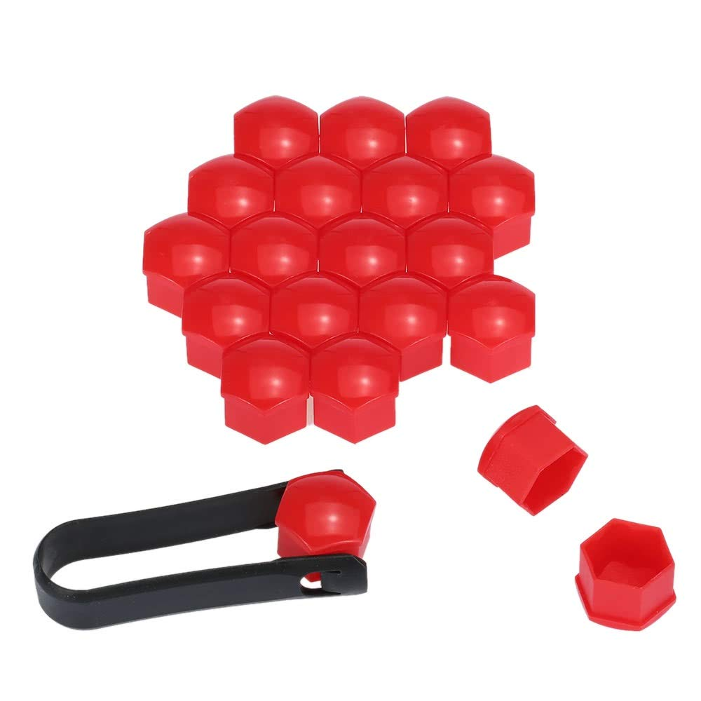 YuanCheng Car accessories Set of 20pcs Universal 17mm Plastic Car Wheel Nut Covers Bolt Caps Color : Red