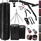 RDX 14PC Punching Bag 5ft 4ft Heavy Filled Set, Non Tear Maya Hide Leather Adult Bag Wall Bracket Ceiling Hook Punch Gloves Chain, Kara Patent Pending Kickboxing Boxing MMA Muay Thai Training Workout