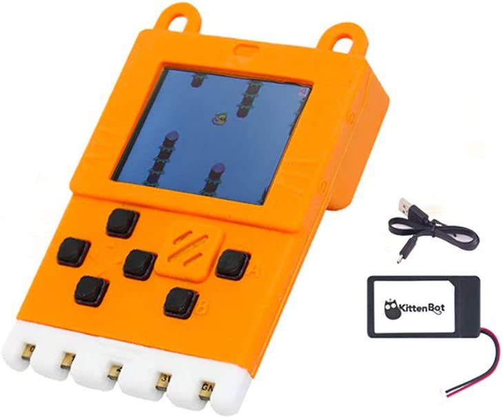 Kittenbot Meowbit Card-Sized Retro Computer Video Game Console Codable Console for Microsoft Makecode Arcade and Python Compatible with Micro:bit Expansion Board for Build Robot-Orange