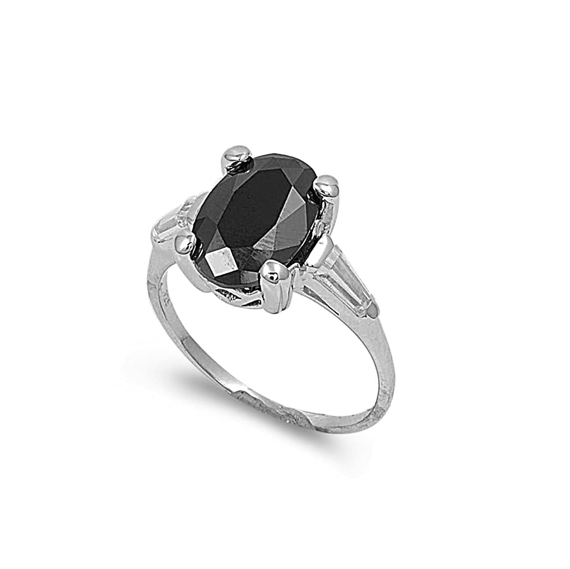 CloseoutWarehouse Oval Black Cubic Zirconia Center with Baguette Sides Ring Sterling Silver