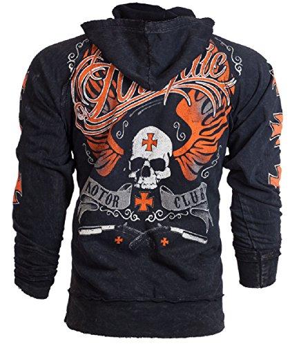 Archaic AFFLICTION Men Hoodie Sweat Shirt Jacket REBEL Fight Biker UFC