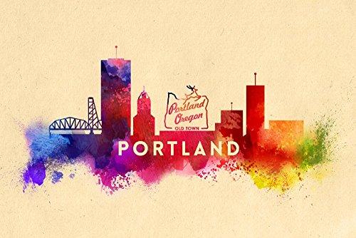 Portland, Oregon - Skyline Abstract (12x18 Art Print, Wall Decor Travel - Portland Framing Supplies Oregon