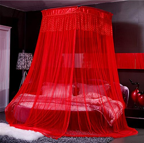 Nattey Princess Red Canopies Mosquito Netting Canopy For Twin Full Queen King Bed Size (Red) (Red Bed Canopy Netting)