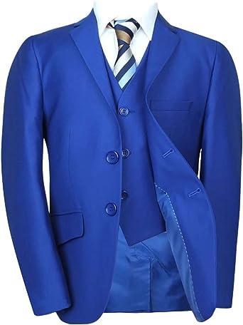 SIRRI Premium Corte Italiano niños Royal Azul Suit, Página Chico Boda Prom Cena Traje de niños en Azul Brillante