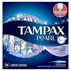 Tampax Pearl Plastic Tampons, Light Absorbency, Unscented, 36 Count (Packaging May Vary)