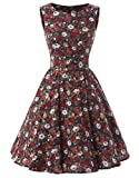 Ensnovo 50s Vintage Style Rockabilly Swing Picnic Evening Party Cocktail Dress Royal Blue L