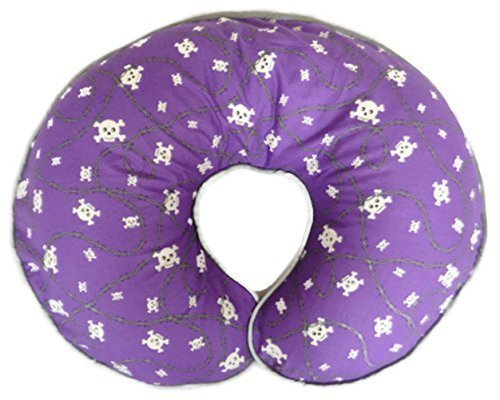 Nursing Pillow Cover Purple Skulls and Crossbones and Barbwire for Baby Boy or Baby Girl by Mommy's Little RockStar
