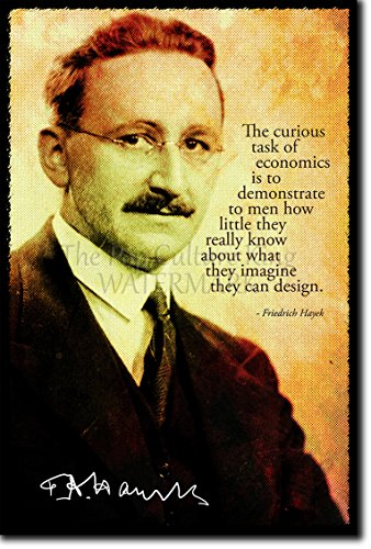 Friedrich Hayek Art Print Photo Poster Unique Gift Quote Free Market Economics Libertarian Capitalism