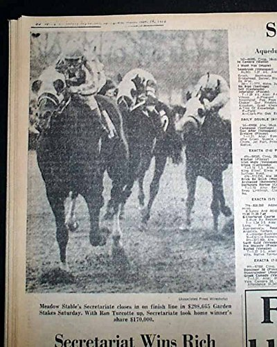 SECRETARIAT WINS Garden State Stakes PRE TRIPLE CROWN Horse Racing1972 Newspaper (Secretariat Wins)