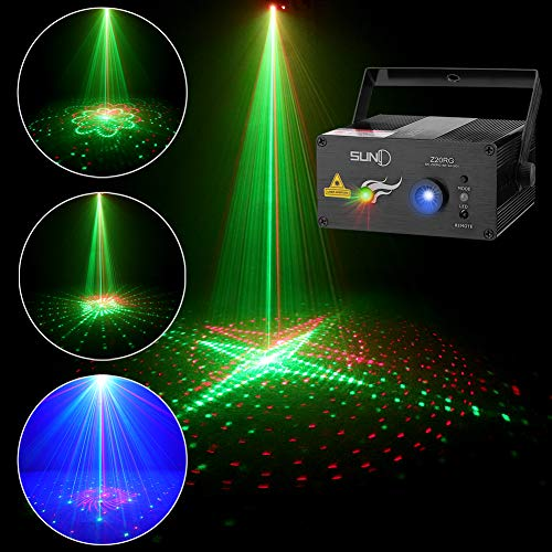 SUNY Music Laser Projector DJ Laser Lights 20 Patterns Red Green Stage Lighting Blue LED Remote Control Sound Activated Xmas Party Indoor Family Wedding Decoration Carnival Holiday Bar Disco Show