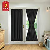 H.VERSAILTEX Blackout Draperies Curtains for French Door Thermal Insulated Blackout Half Window Patio Door Curtains – 2 Panels 52W by 72L Inches, Black For Sale