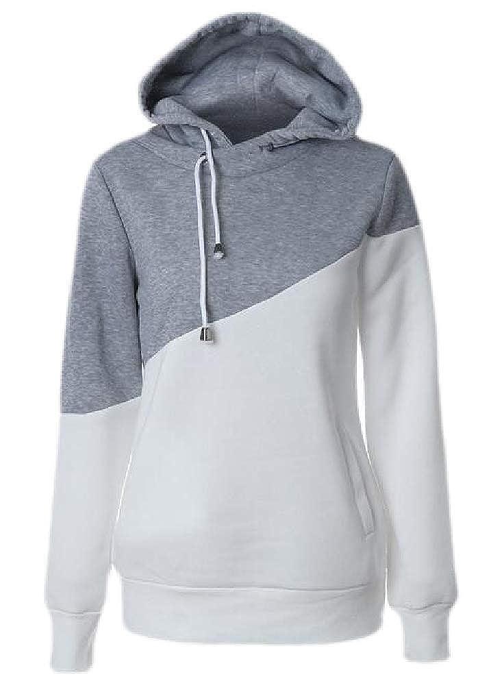 Joe Wenko Womens Color Block Hooded Pullover Long Sleeve Sweatshirts