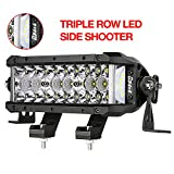 LED Light Bar, DJI 4X4 7.5 Inch 102W Triple Row Side Shooter CREE LED Pods Off Road Spot Flood Combo Beam Waterproof Driving Fog Lights for Trucks Jeep ATV UTV SUV Pickup Boat, 2 Years Warranty
