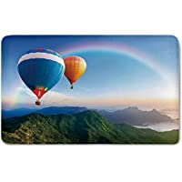 Memory Foam Bath Mat,Rainbow,Hot Air Balloon Flying Lovely Mountain Side with Clear Sky and Rainbow DecorativePlush Wanderlust Bathroom Decor Mat Rug Carpet with Anti-Slip Backing,Sky Blue Multicolor