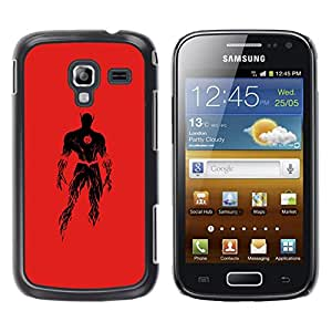 Shell-Star Arte & diseño plástico duro Fundas Cover Cubre Hard Case Cover para Samsung Galaxy Ace 2 I8160 / Ace2 II XS7560M ( Superhero Costume Red Powerful Fire Black )