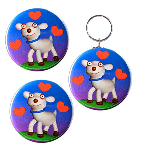 Funny I Love Lamb Sheep, Matching 2-Sided Keychain, Magnet and Pinback -
