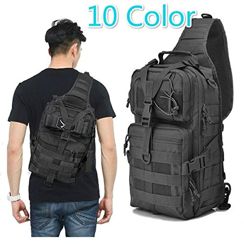 Military Tactical Assault Pack Sling Backpack Army Molle Waterproof EDC Rucksack Bag for Outdoor Hiking Camping Hunting Trekking Travelling (Multi-Color,Black)