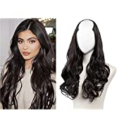 SARLA Black Brown U Part Full Head Hair Extensions Curly Wave Synthetic Clip in Hair Wigs U Shape...