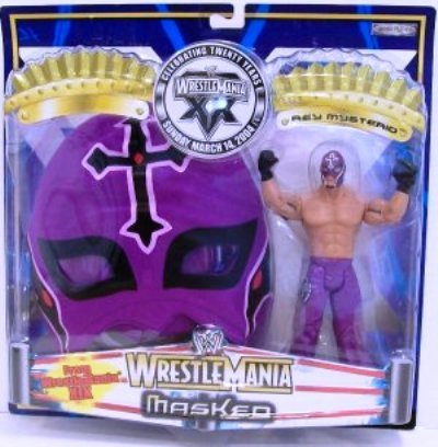 WWF WWE Wrestlemania Masked Rey Mysterio 19 Action Figure with Purple Mask by Jakks Pacific