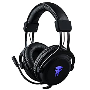 Gaming Headset with Mic,Noise Cancellation Surround Sound Over Ear Headphones with Led Light,Wired 3.5MM Jack Gaming Headphones for Xbox One,PS4,PC,Laptops,Mac,Ipad,iPhone 5,6,7 (Black)
