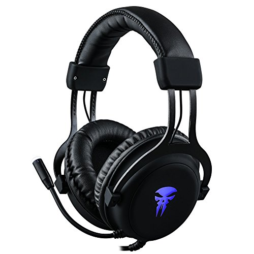 (Gaming Headset with Mic,Noise Cancellation Surround Sound Over Ear Headphones with Led Light,Wired 3.5MM Jack Gaming Headphones for Xbox One,PS4,PC,Laptops,Mac,Ipad,iPhone 5,6,7 (Black))