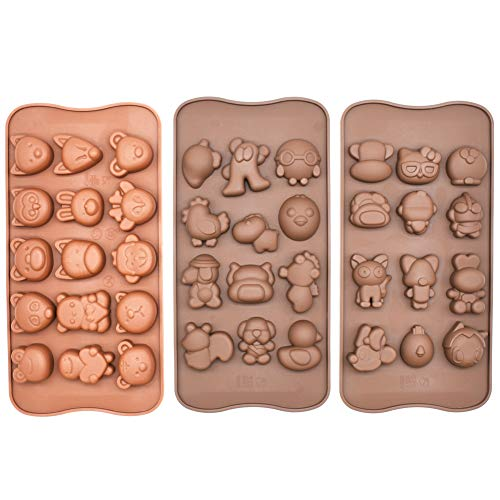 Poproo Animal Shaped Candy Mold 3-Piece Silicone Chocolate Molds Ice Cube Tray - Animal Heads, Figures, Face (Set of 3) ()
