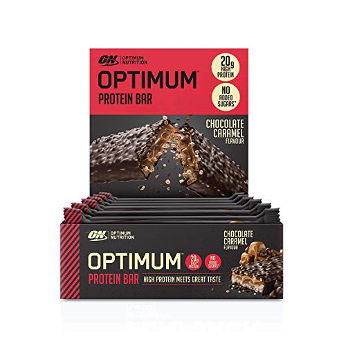 Optimum Nutrition Protein Bar with Whey Protein Isolate, Low Carb High Protein Snacks with No Added Sugar, Chocolate Caramel, 10 Bar (10 x 60 g)