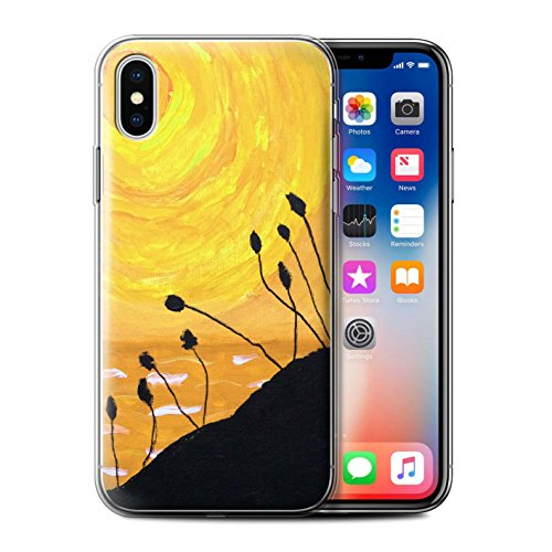 Stuff4 Gel TPU Hülle / Case für Apple iPhone X/10 / Gelb Muster / Sonnenuntergang Ölgemälde Kollektion