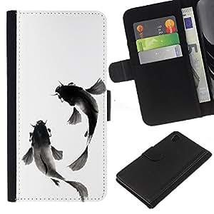iBinBang / Flip Funda de Cuero Case Cover - Fish Watercolor Minimalist Pet - Sony Xperia Z4