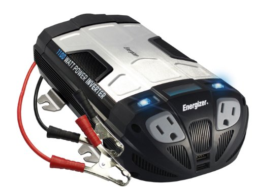 ENERGIZER 1100 Watt Power Inverter converts 12V DC from car's battery to 120 Volt AC with 2 USB ports 2.1A shared compatible with iPad iPhone