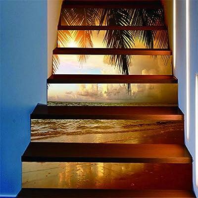 ZXFMTQ 3D PVC Palmera Escaleras Pegatinas Piso Paso Escalera Puesta De Sol Papel De Pared Pegatina Playa Escaleras Pegatinas: Amazon.es: Hogar