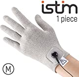 iStim Conductive Glove Package (including Electrode Pads) for electrotherapy, massage - compatible with TENS/EMS Machine Units - Silver Thread (M - 1 piece)