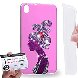 Case88 [HTC Desire 816] Gel TPU Carcasa/Funda & Tarjeta de garantía - Art Fashion Rose Pink Hairstyles Silhouettes Art1920