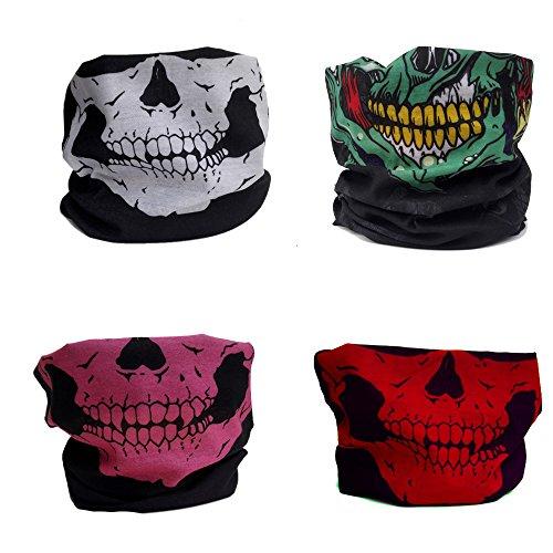 [DOLAIMI 4 Pack Colorful Half Face Mask Skull Halloween Costumes Seamless Headband Bandana Neck Gaiter Skeleton Scarf Outdoor Wear Motorcycle Snowboard Biking Hiking Ski Multi- Functional] (Halloween Skeleton Mask)