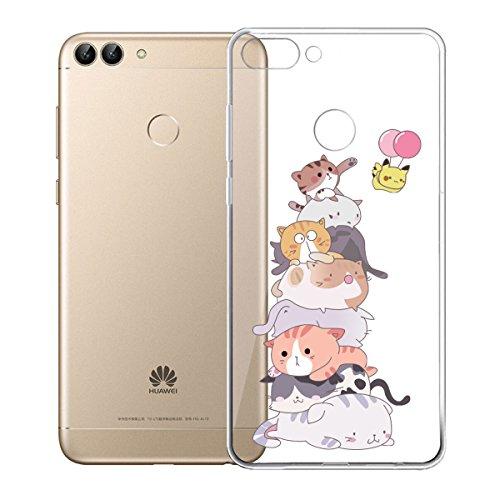2 Pack Funda para Huawei P Smart / Enjoy 7S , IJIA Transparente TPU Silicona Suave Cover Tapa Caso Parachoques Carcasa Cubierta para Huawei P Smart / Enjoy 7S (5.65) (WM110+WM111) XY15+WM112