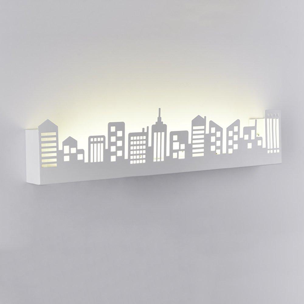 Wandleuchte Stadt Wandregal Multifunktions LED Wandleuchte Schwarz Weiß Wandbeleuchtung (farbe   Weiß)