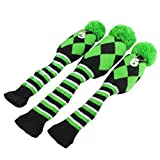 Golf Club Knit Head Cover 3pcs Headcover Set Vintange Pom Pom Sock Covers 1-3-5 Green & Black