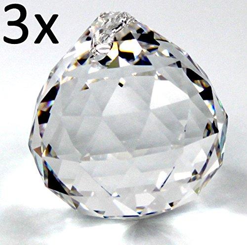 3x Rieser® premium-kristall boule cristal à facettes 20mm - lead crystal 30% PbO - Feng Shui